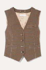 Checked woven and satin-jacquard vest
