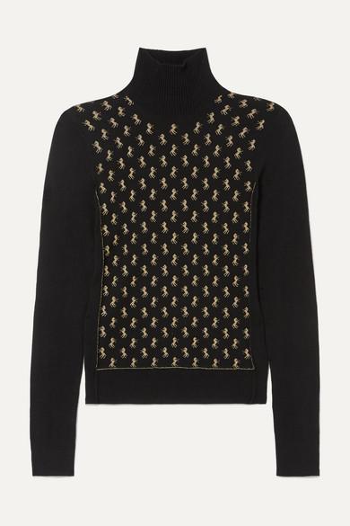 86259f628f Metallic intarsia wool-blend turtleneck sweater