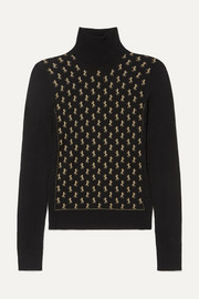 Chloé Metallic intarsia wool-blend turtleneck sweater