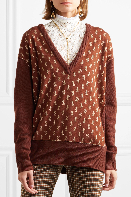 Chloé Metallic intarsia wool-blend sweater