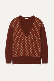 Metallic intarsia wool-blend sweater