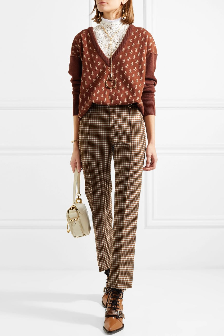 Chloé Metallic intarsia wool-blend sweater