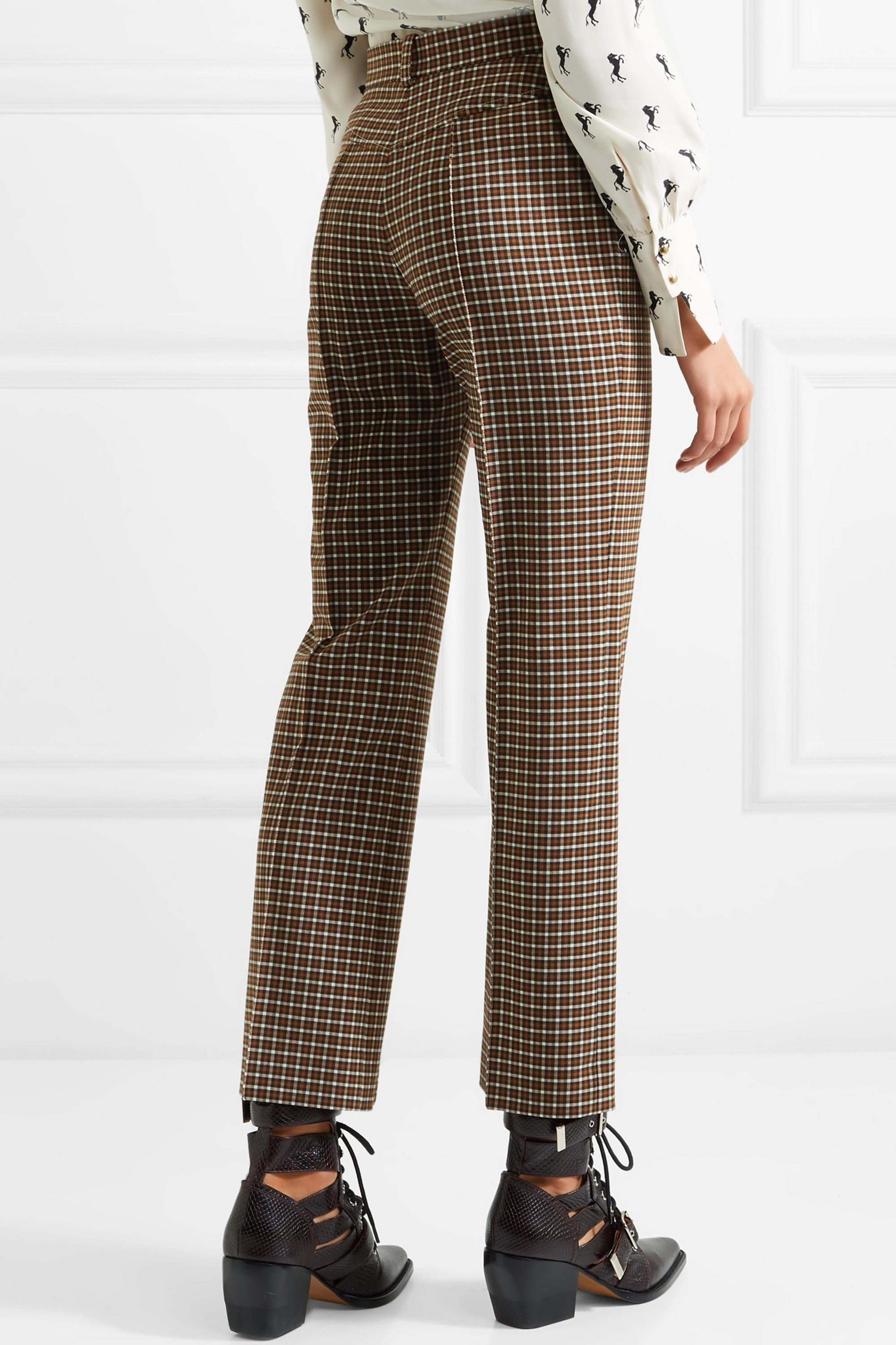Chloé Cropped checked woven straight-leg pants