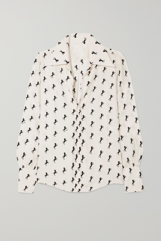 Chloé Printed silk-crepe blouse