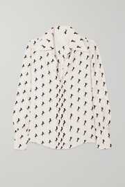 Printed silk-crepe blouse