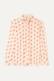 Printed pussy-bow silk-crepe blouse