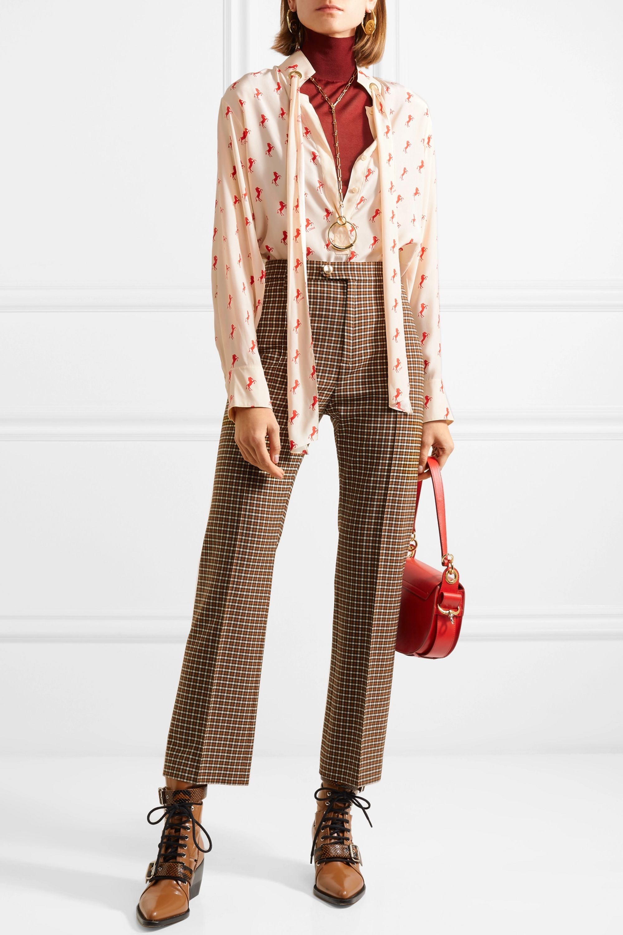 Chloé Printed pussy-bow silk-crepe blouse