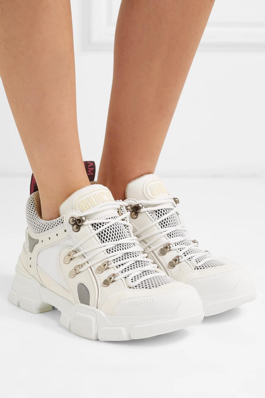 Gucci Flashtrek 标志压花皮革绒面革网眼运动鞋