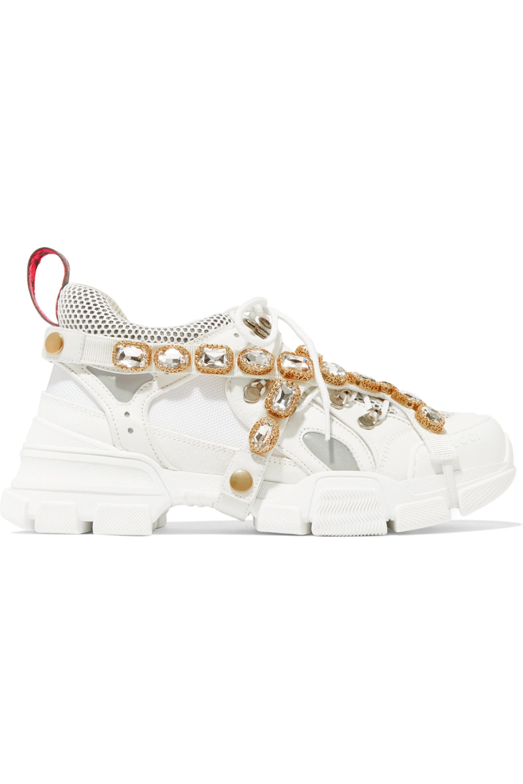 Gucci Flashtrek embellished logo-embossed leather, suede and mesh sneakers