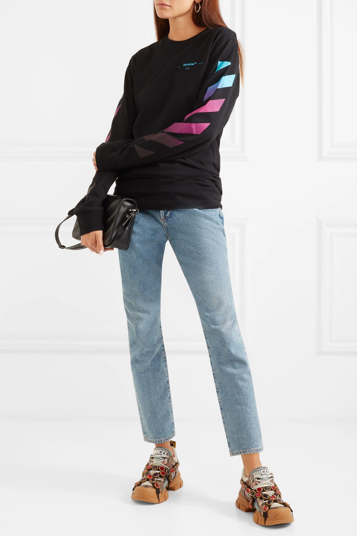 Gucci Flashtrek embellished logo-embossed metallic leather and mesh sneakers