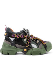 Gucci Flashtrek embellished logo-embossed mesh, leather and suede sneakers