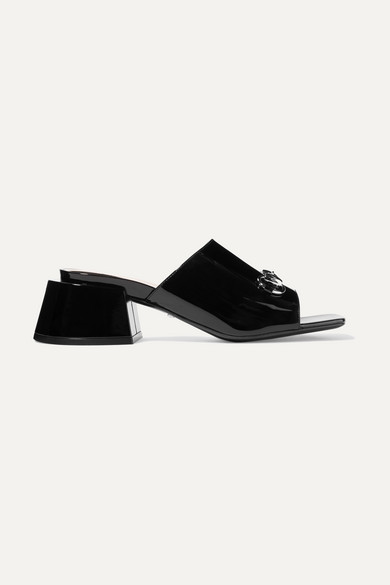Lexi Horsebit Detailed Patent Leather Mules by Gucci