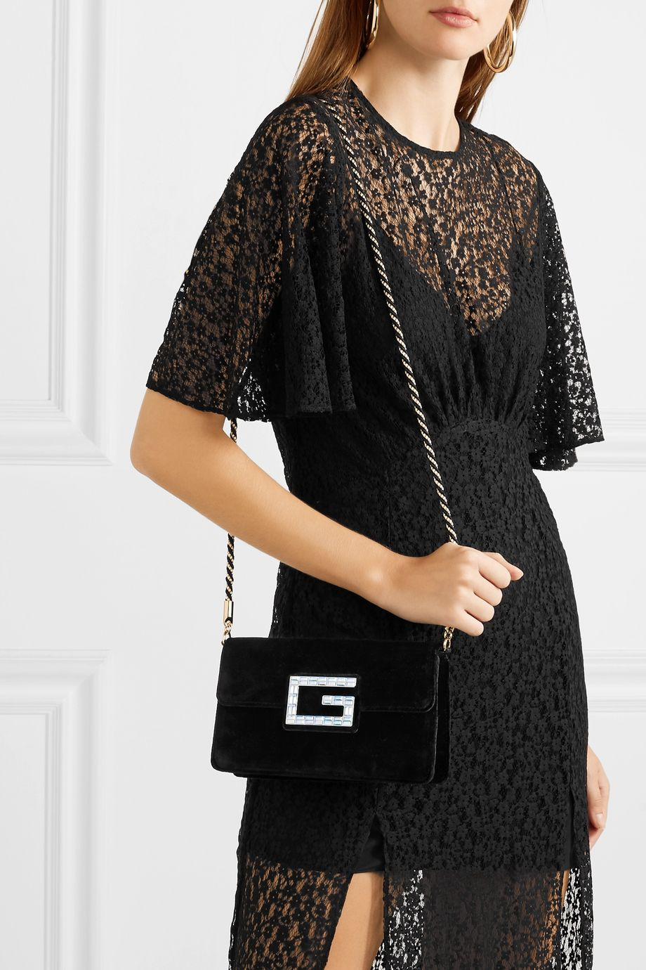Gucci Broadway crystal-embellished velvet shoulder bag