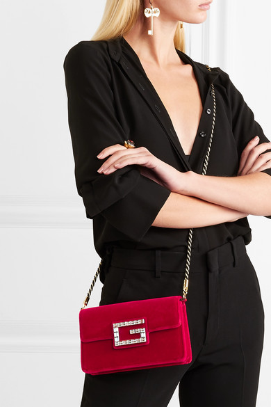 a048f79ffc19 Gucci   Broadway crystal-embellished velvet shoulder bag   NET-A ...