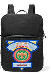 Gucci Neo leather and canvas-trimmed appliquéd shell backpack