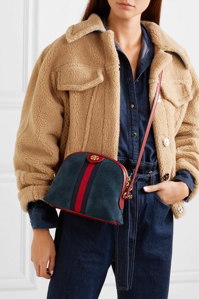 Gucci Shoulder Ophidia patent leather-trimmed suede shoulder bag
