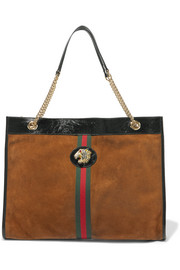 Gucci Rajah large patent leather-trimmed suede tote