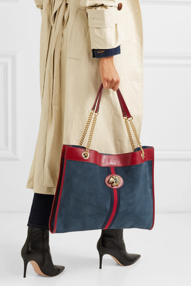 06711502451 Rajah large patent leather-trimmed suede tote