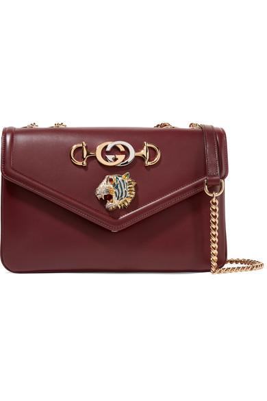 Rajah Medium Embellished Leather Shoulder Bag by Gucci