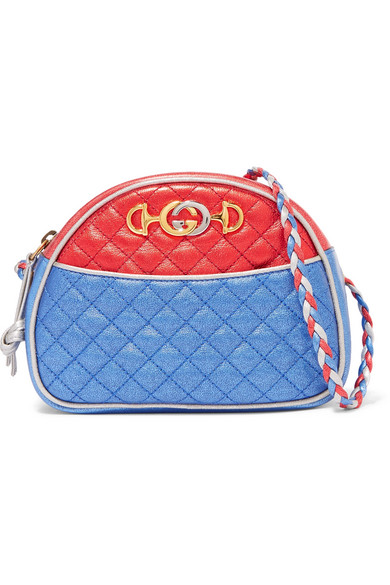 Gucci - Quilted Color-block Metallic Leather Shoulder Bag - Blue