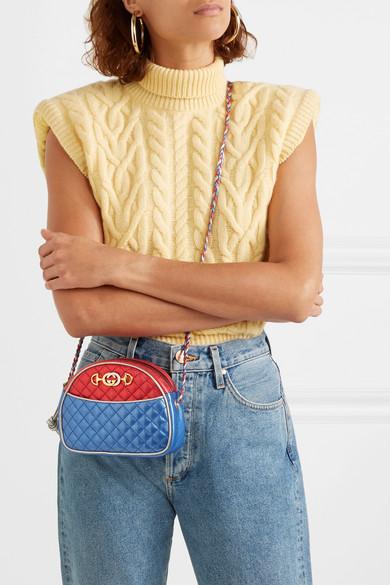 Gucci Shoulder Quilted color-block metallic leather shoulder bag