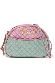 Gucci Quilted color-block metallic leather shoulder bag