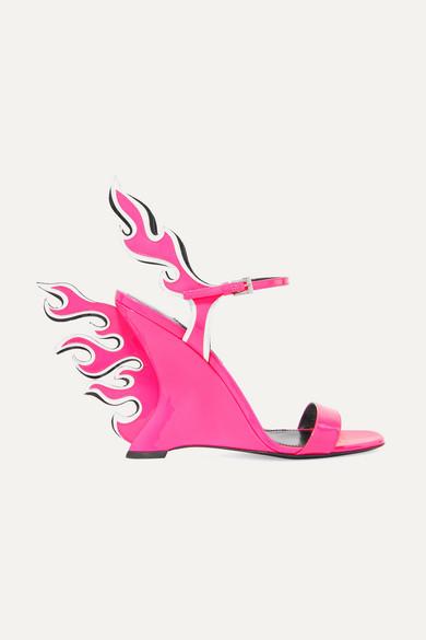 31fa192dfe1 Prada. Neon patent-leather wedge sandals