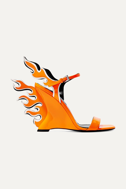 Prada 110 neon patent-leather wedge sandals