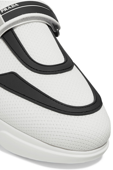 a341c5a9 Cloudbust logo-embossed rubber, neoprene and leather-trimmed mesh high-top  sneakers