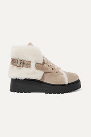 Miu Miu Shearling-lined suede ankle boots