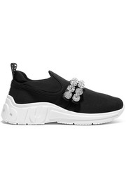 Miu Miu Crystal-embellished logo-print stretch-knit sneakers