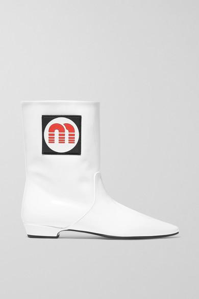 f3f92cbbb4e0b Miu Miu | Logo-appliquéd patent-leather ankle boots | NET-A-PORTER.COM