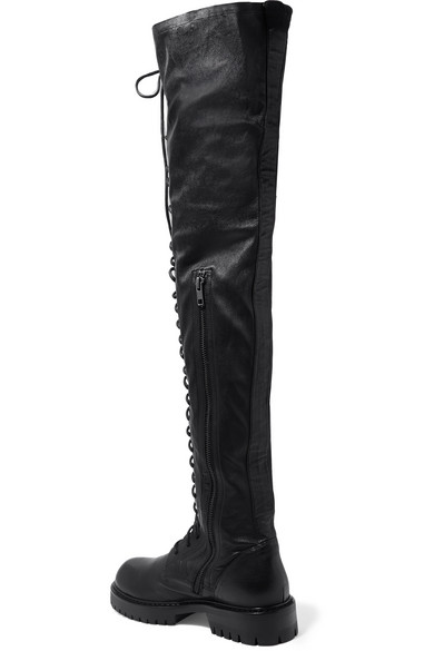 40699d0a183 Ann Demeulemeester. Lace-up leather over-the-knee boots.  1