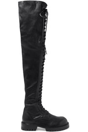 Ann Demeulemeester Lace-up leather over-the-knee boots