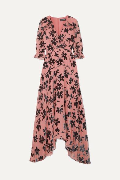 Saloni - Edith Ruffled Flocked Chiffon Maxi Dress - Pink