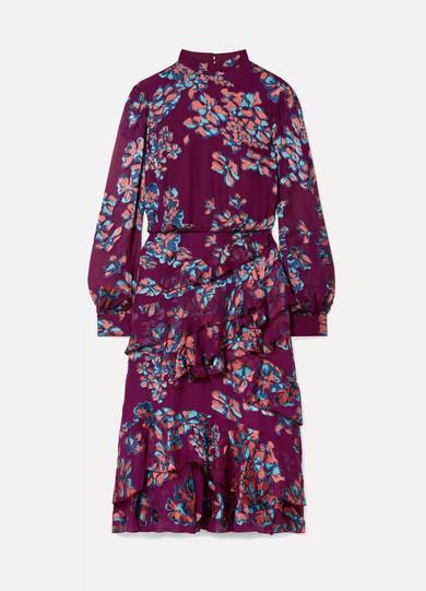 Saloni - Isa Ruffled Floral-print Devoré-chiffon Midi Dress - Plum