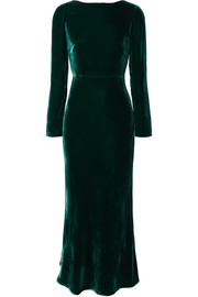 Tina open-back velvet midi dress