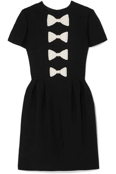Bow Detailed Wool And Silk Blend Mini Dress by Valentino