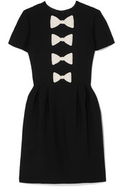 Valentino Bow-detailed wool and silk-blend mini dress