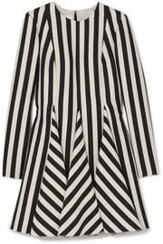 Valentino Striped wool and silk-blend mini dress
