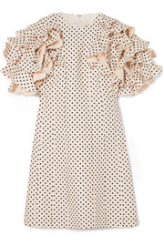 Valentino Ruffled polka-dot wool and silk-blend mini dress