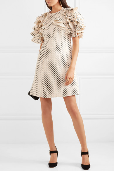 Ruffled Polka-dot Wool And Silk-blend Mini Dress - Cream Valentino x9gwK