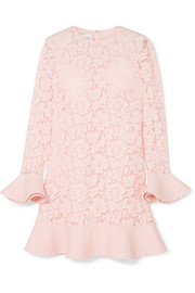 Valentino Ruffled crepe-trimmed guipure lace mini dress