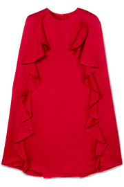 Valentino Ruffle-trimmed crepe mini dress