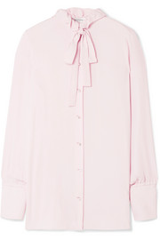 Pussy-bow embellished silk blouse