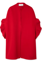 Valentino Ruffled brushed wool and cashmere-blend cape