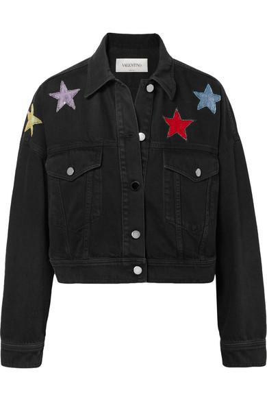 Cropped Embellished Denim Jacket in Black