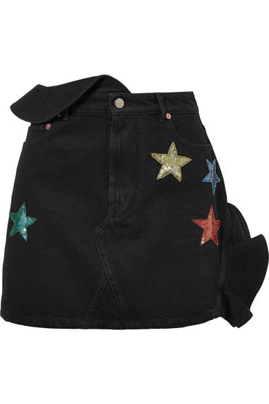 Embellished Ruffled Denim Mini Skirt in Dark Denim