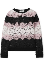 Valentino Jersey-trimmed corded cotton-blend lace sweatshirt