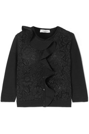 Ruffled lace-paneled knitted cardigan